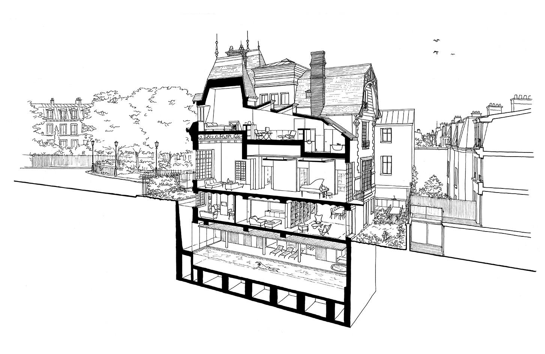 dessins d architecture martin etienne. Black Bedroom Furniture Sets. Home Design Ideas
