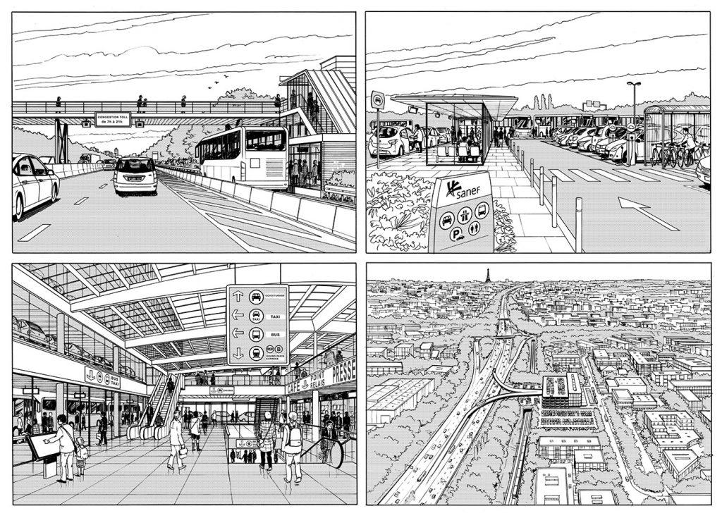 Etude pour les interconnexions entre transports publics et espaces autoroutiers en Ile-de-France - SANEF - 2016